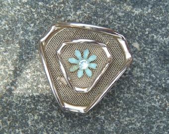 Vintage Silver Tone Mesh Flower Brooch