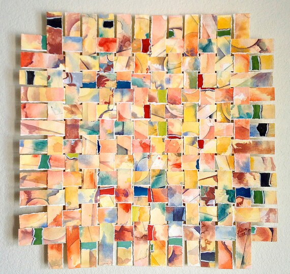 Yellow Paper Weaving Original Abstract Watercolor By
