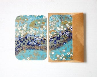 Turquoise Chiyogami Note Card Set . Save The Date Cards . Invitations . Greeting Cards . no.76