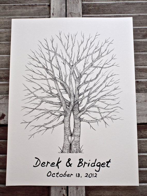 Split Tree Trunk, Small Fingerprint Wedding Tree Guest book, Hand Drawn in Ink, includes 2 ink pads and pen
