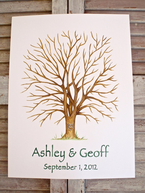 Large Oak Hand Painted Fingerprint Wedding Guest book Tree, custom with 2 ink pads and pen