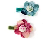 Flower Hair Clip Set, Dark Pink, blue, teal & moss green fabric button and rhinestones, non slip velour lined, boutique little girl clippies