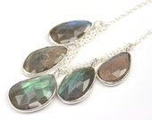 Labradorite Necklace, Labradorite Jewelry, Sterling Silver Chain with Labradorite Stone Drops, Statement Necklace