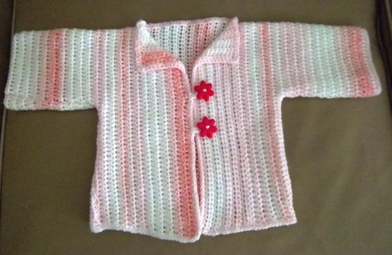 Jacket - Crochet Jacket with Short Sleeves for a Baby Girl up to 18 Month