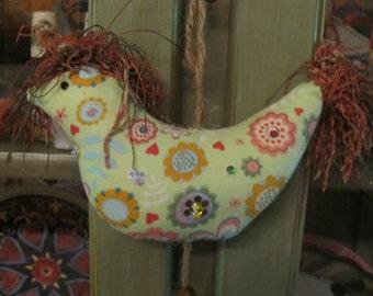 Chicken Decor, Kitchen Decor, Handmade Fabric Art, Good Luck Folk Art, Lucky Chicken Totem, Gift Item, Beaded Fabric Chicken,  Chicken Lover