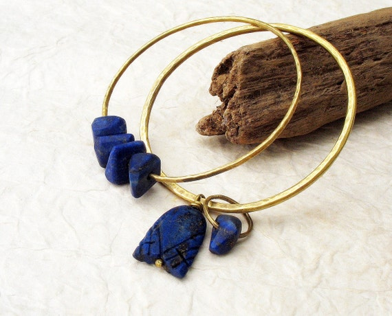 Rustic Bangle Stack Bracelets Navy Blue Lapis Lazuli Nugget Beads Hammered Bronze Metal Set of Two Gypsy Inspired