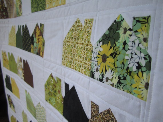 Items similar to modern house quilt on etsy for Modern house quilts