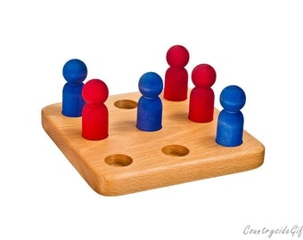 Stocking Stuffer Game- Wood Tic Tac Toe Game - Wooden Game -Natural & Organic Hardwood Wooden People Tic-Tac-Toe Game  - Children, Adults