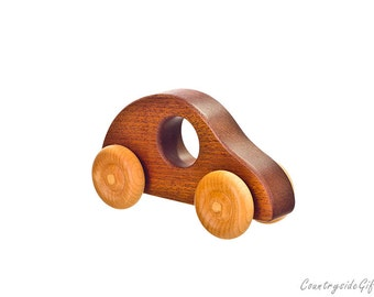 Wooden Toy Cars - Handcrafted Natural and Organic Wooden Toy Car - Hardwood Wooden Toy Buggy Car  - African Ribbon Wood