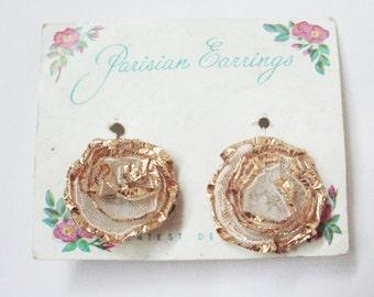 Vintage Jewelry. Vintage Earrings. Parisian Perfume Earring. Vintage Screw Earrings.  French Style Earrings. Flowers. Made in England.