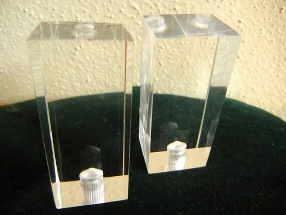 Rare Pair Clear Lucite Lamp Finials Big Beautiful Perfect Eames Era Chunky Retro Art Deco  Hollywood Regency