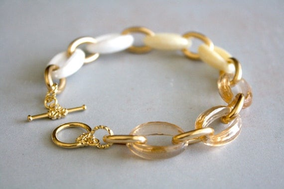 Arm Candy - ivory ombre gold link bracelet - champagne ivory white