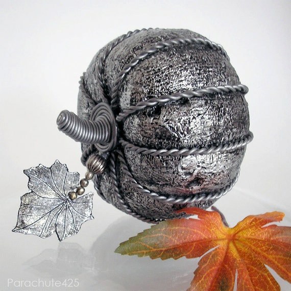 Silver Antiqued Pumpkin, decoupage, Halloween, macabre, gothic, spooky, black and silver, ooak