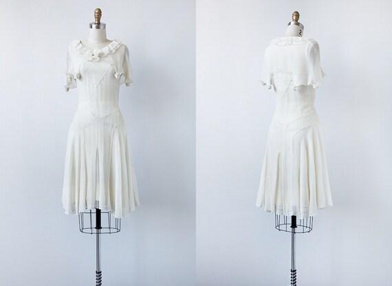 vintage 1920s dress / vintage sheer flapper dress / vintage 20s white dress