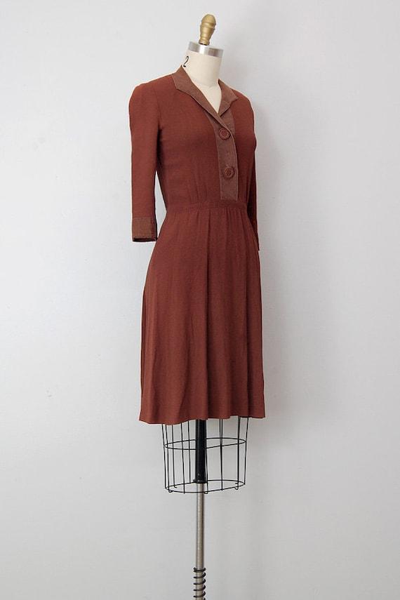 1940s Day Wear: Vintage 1940s Dress / Vintage 40s Dress / 1940s Brown Day