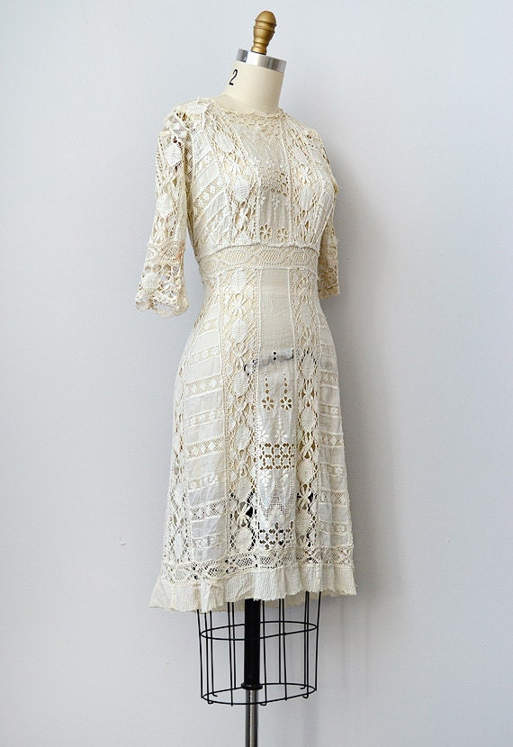 Antique 1910s Edwardian lace crochet dress