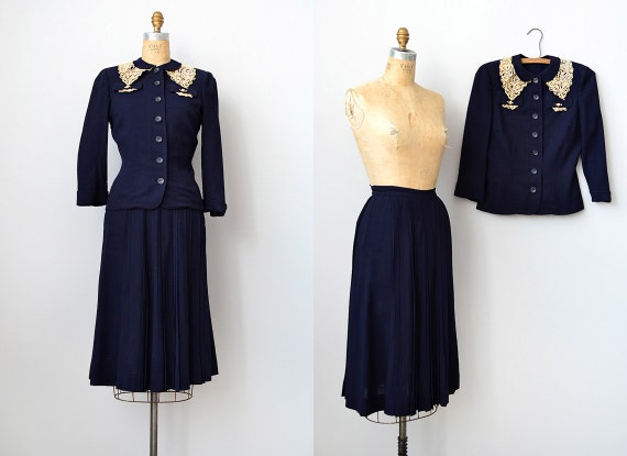 vintage 1940s navy skirt blazer set