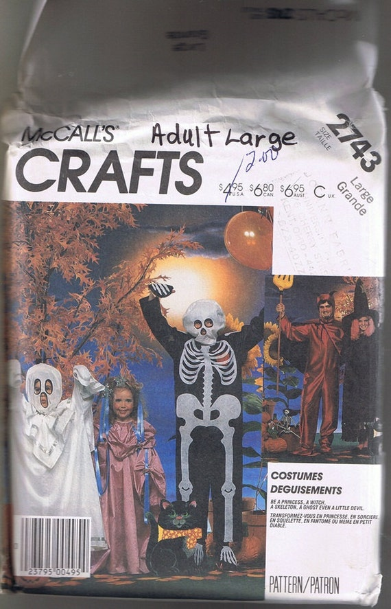 Skeleton Devil Witch Princess Ghost Halloween Costume Sewing Pattern Size Adult Large McCall's 2743