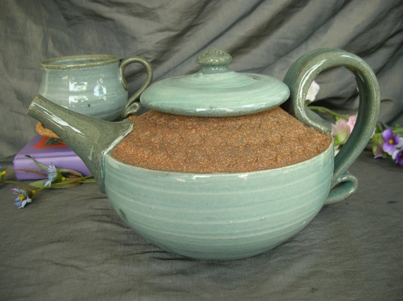 Ceramic Teapot in Sky Blue and Speckled Brown Clay