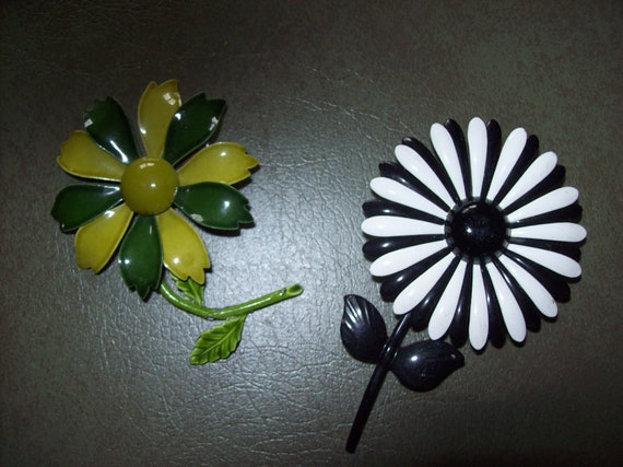 Vintage Painted Metal Flower Pins from the 1960s