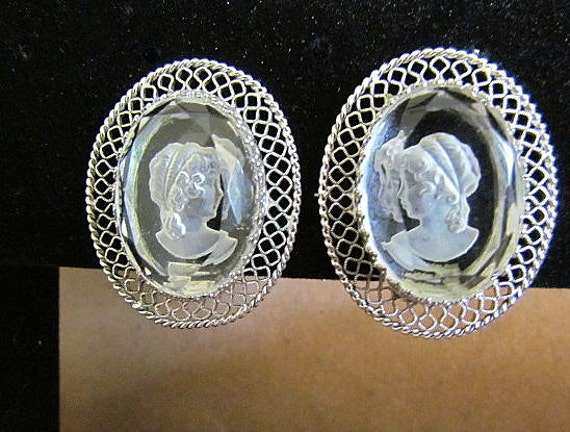 Vintage Whiting & Davis Reverse Carved Cameo Clip Earrings
