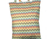 Wet Bag Hanging Diaper Pail Laundry Bag - Rainbow Chevron - FAST SHIPPING