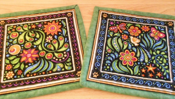 Quilted Mug Rugs set of 2,  Large Coasters, Candle Mats, RJR Sew Catty Fabric