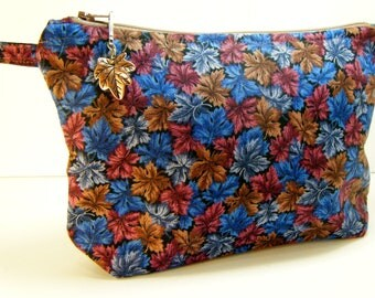 Blue Brown Leaf  Makeup Cosmetic Organizer Bag