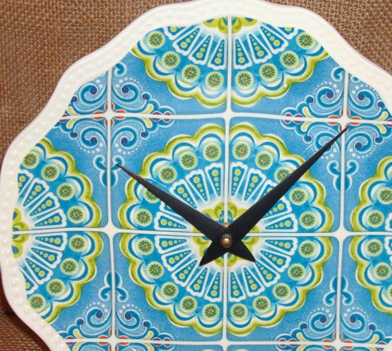 Wall Clock -  Turquoise and Lime Whimsical Print Ceramic Plate Wall Clock No. 922 (9 inches)