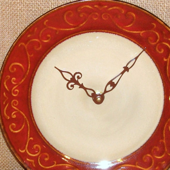 Wall Clock -  Deep Rusty Red with Scroll Pattern Ceramic Plate Wall Clock No. 935 (8-1/2 inches)