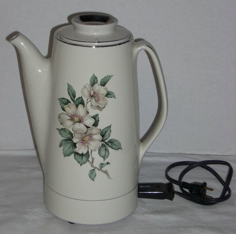 Hall China Magnolia Electric Percolator Coffee Pot