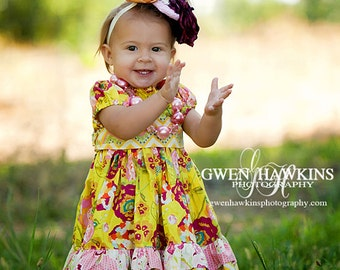 Only 2 left! Sweet Tea coordinating line, twirl peasant dress, size 6mos.-10 girls