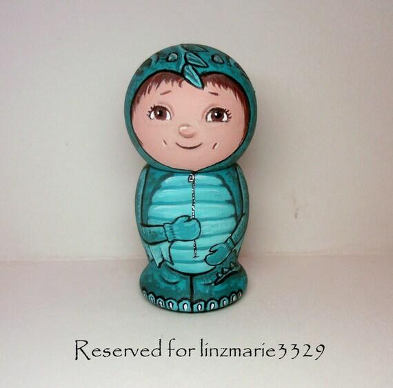 Reserved for linzmarie3329 Baby Dragon Costume Kokeshi Doll