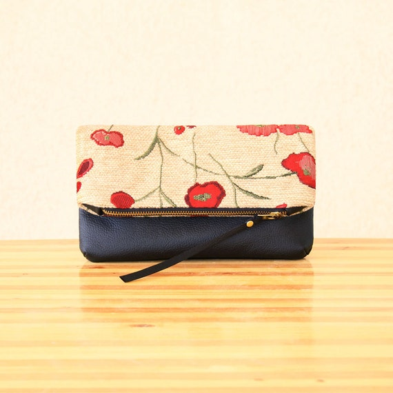 Red Poppy Pattern Fabric and Leather Fold Over Clutch, Zipper Clutch, Zipper Pouch