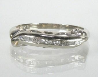 Vintage Diamond Wedding Ring - Single Cut Diamonds - 14K White Gold - Mid Century