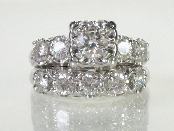 Vintage Diamond Wedding Ring Set - 1.51 Carats Total Weight