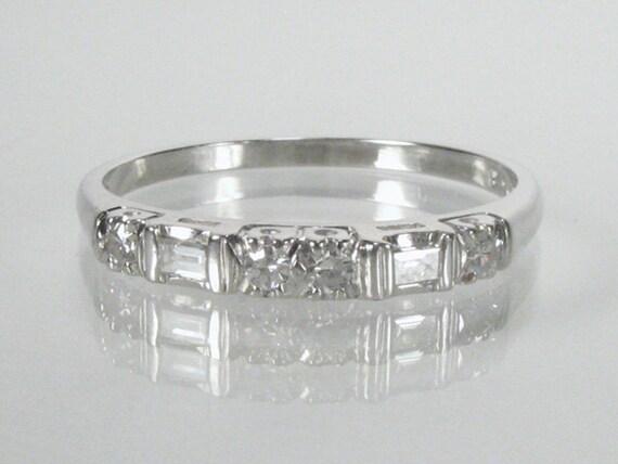 Vintage Baguette and Single Cut Diamond Wedding Ring