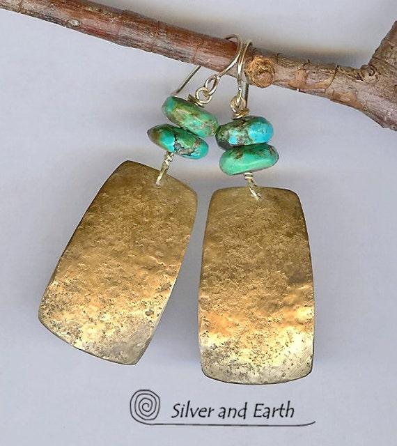 Gold Brass Earrings w- Organic Texture & Turquoise, Artisan Metalwork Earrings, Turquoise Earrings, Modern Jewelry, Contemporary Earrings