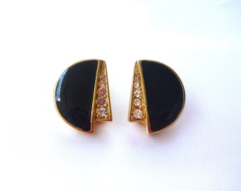 Vintage, Golden, Black/Diamond Fan ClipOns : C30
