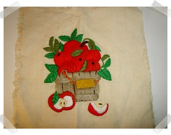 Apple Craft Square/Unfinished Craft/Hand Embroidered**