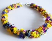 Womens, young womens, necklace choker, plaited fibers and trim, colorful, multicolored, neck accessories