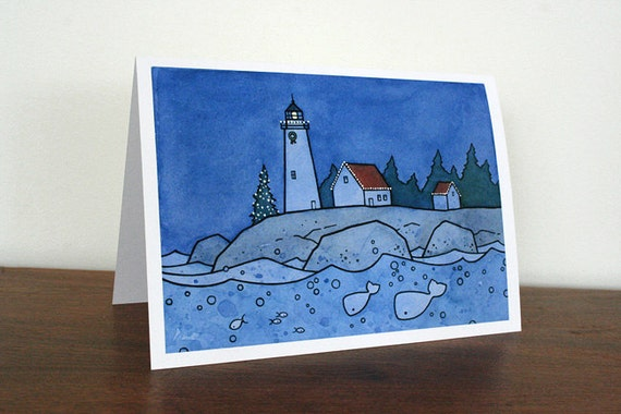 Whale Christmas Card - Whimsical Nautical Lighthouse