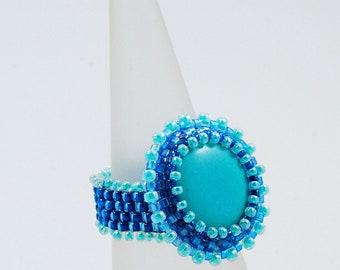Turquoise Blue Ring, Beadweaving Ring, OOAK