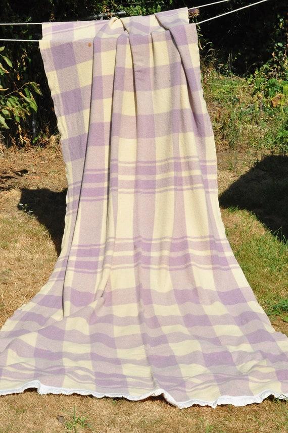 Vintage Purple Plaid Uncut Camp Blanket Country Farmhouse Charm Cutter Blanket
