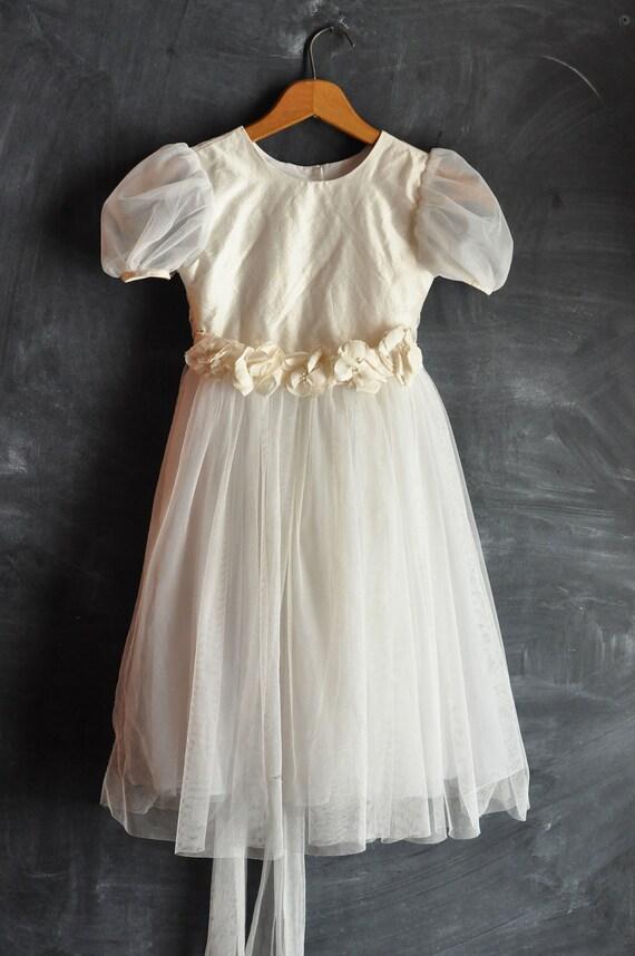 Vintage Flower Girl Dress size 4 Tinkerbell White Formal Gown for Girls