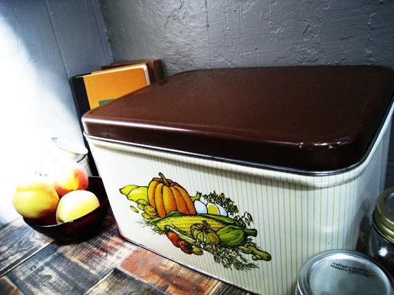 VIntage Metal Bread Box with Harvest Vegetables Kitchen Decor