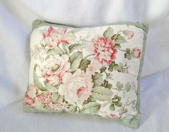 Cottage Shabby pillow, pastel rose flower, green, pink, romantic chic decor, 13 x 10 inches, muted colors, includes insert