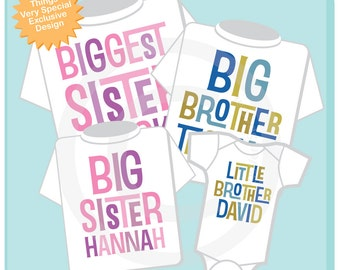 Set of Four, Biggest Sister, Big Brother, Big Sister, Little Brother Tees and Onesies