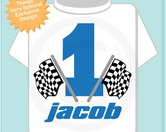First Birthday Checkered Flag Racer Birthday Shirt Personalized Birthday Boy Racing Theme Tee Shirt or Onesie (06292012c)