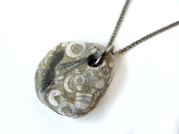 Natural stone jewelry small crinoid fossil by authenticstone for How to make rock jewelry